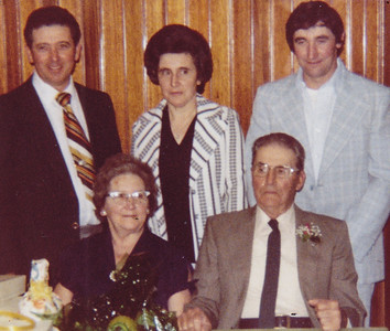 Standing: Bob, Mary and David. Seated: Mae (Troutman) and Roy Schrack. 1981.