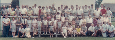 The 1968 annual Schrack reunion, at the Shartlesville, PA, playground: the 76 family members seen here are only some of John Adams many descendants 121 years after he was born. Most attending are descendants of his sons Charles and Riley.