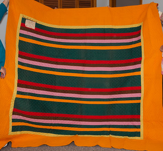Mother Katie had an old unnamed relative (possibly Jennie Faust Rentschler) make a quilt for each son. This one is embroidered for son Roy. Front side shown here.