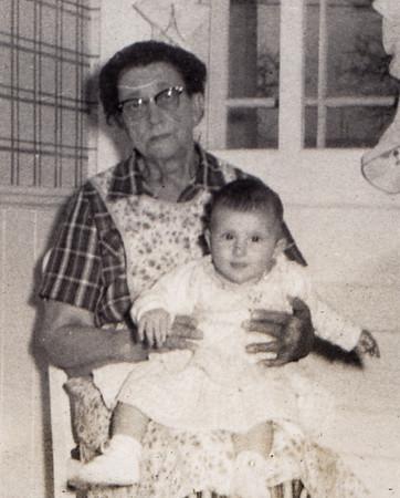 Katie (Faust) Schrack with great-granddaughter Debbie Bender, in her kitchen (where Reinharts now live).
