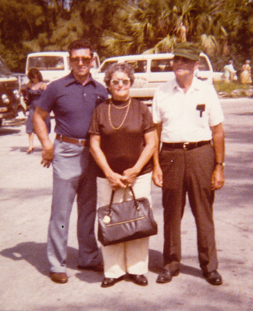 Robert, Mae and Roy, in Florida for Roy and Mae's 40th anniversary, 1974.