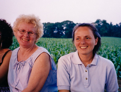 Marie (Schrack) Hill with daughter Beth (Hill) Humma, on a horse-wagon ride, 2000.