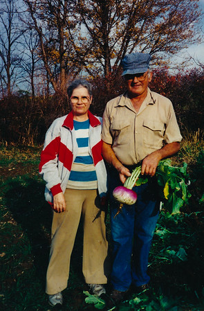 John and Edna (Stricker) Schrack, in their garden.