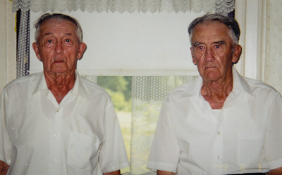 Twins Wayne & Charles Schrack. At their 85th birthday in 1999.