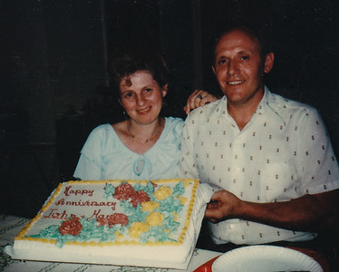 John and Marie (Schrack) Hill's anniversary (possibly 1980?), while visiting Lucille and Russell Coultrup.