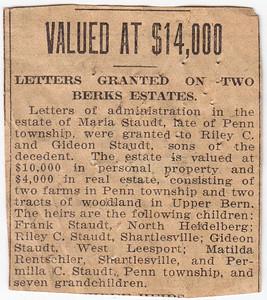 Maria Staudt's estate valued at $14,000.00