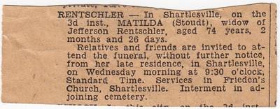 Invitation to funeral of Matilda (Stoudt) Rentschler