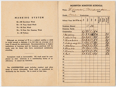 report Card (page 2, 3), Mohnton Public School, year 1939 - 1940, Marian Werner, grade one. Teacher Estelle I Leffler. Principal Charles O Metcalf.
