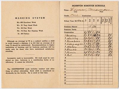 report Card (page 2, 3), Mohnton Public School, year 1939 - 1940, Marian Werner, grade one. Teacher Estelle I Leffler. Principal Charles O Metcalf.