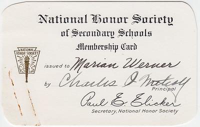 National Honor Society of Secondary Schools... Marian Werner. Principal Charles O Mitcay(?), secretary Paul E. Elicker (Slicker?)