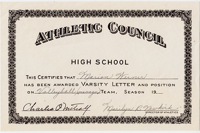 Athletic Council... Marian Werner... vollyball manager. Signed my Charles O. Metcalf, Marilyn R. Newkirk.