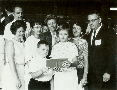 Ronald & Marian Humma (left), Ruth Palms (with glass), Jeb & Cathy holding book,  Verna Johnston (behind Jeb), Elsa & Mahlon Gehris. 1964-65? Jehovah's Witnesses' summer District Convention, with the new release.
