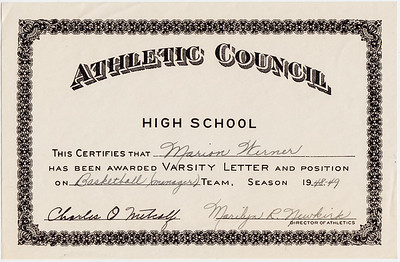 Athletic Council... Marian Werner... basketball manager, 1948-1949. Signed by Charles O. Metcalf, and Marilyn R. Newkirk.