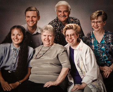 The Humma family. Back row: Jeb, Ronald (father) and Cathy. Front row: Beth (Hill, Jeb's wife), Marian (mother) and Lisa.