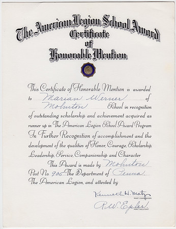 The Americal Legion School Award... Honorable Mention... Marian Werner of Mohnton. Signed by Kenneth H Matz and R.W. Epler.