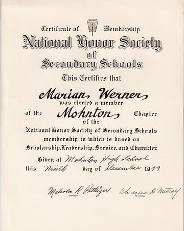 National Honor Society of Secondary Schools... Marian Werner ... Mohnton High School. Signed by sponsor Malcolm R. Potteiger and principal Charles O. Mitcay (?).