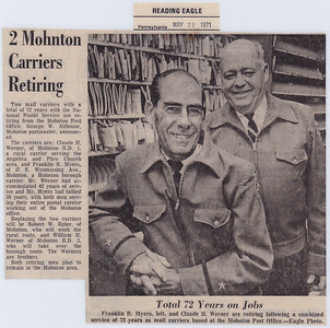 Franklin R. Myers and Claude H. Werner, retiring from service as mail carriers, from the Mohnton Post Office, 1971.