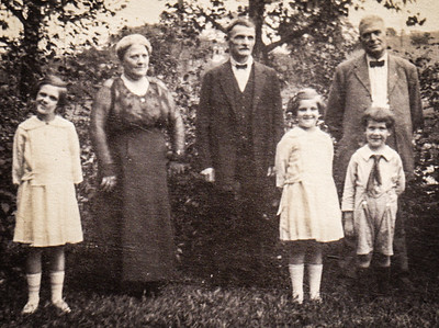 The Yeich children: Virginia, Mildred and Donald with Gramp Whitman and Gram's brother William Swoveland and wife from Altoona, PA.  Can anyone clarify?? Who is 'Gramp and Gram'? Back says 'Gram's brother William Swoveland…', however, the 'Gram' that raised her, was Lulla V. Gray married to Samuel Whitman. Lulla was a 'Gray', not Swoveland. Is 'Gram' Lulla (Gray) Whitman? or her other Gram, Annetta M. (Castor) Yeich? Did one of this grandmothers possibly have half-siblings? Or was it the brother of another 'Gram'?