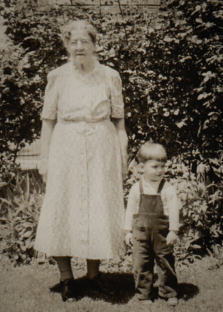 Lulla V. (Gray) Whitman with great-grandson Steve Werner, 1949.