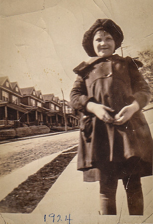 Mildred Yeich, 8 yrs. old, spring of 1924.  Church St. Mohnton, PA