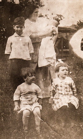 Summer 1917 Mother Lulu holding baby Donald, Uncle Wm. Grant Yeich Jr., Mildred and Virginia. This is the only known image of Lulu (Whitman) Yeich with all 3 of her children. Both parents died of the Spanish Flu shortly thereafter.