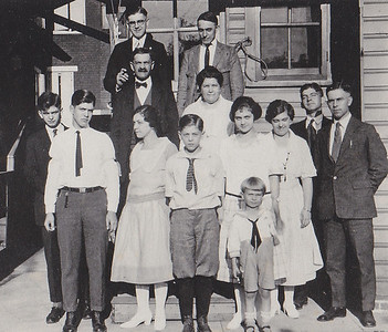 Yeich Family:  L-R, Front: Spencer*, Leroy Fox (son of Winters & Bertha). 2nd row: Raymond*, Grant*, Elsie*, Dorothy (Yeick) Messick*, Bertha (Yeich) Fox*, Arthur*, Luther*. 3rd row: Father William G. Yeich & Mother Annetta Mary (Castor) Yeich. Back: Harry*, Winters Fox (Bertha's husband).  * Children of William & Annetta.