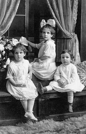 Yeich children July 24, 1919 (summer following our parents death) Mildred Evelyn, Virginia Annetta, Donald Elmer.
