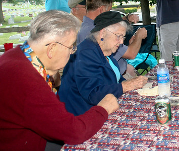 Donald Elmer Yeich with his sister Mildred (Yeich) Strouse, playing cards at Steve Werner picnic, Laureldale, PA, July, 2007.