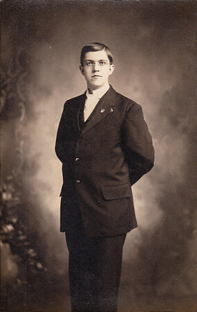 Elmer E. M. Yeich, March 5, 1910, around 21 years old. Elmer and Lulu Whitman were the parents of Mildred, Donald and Virginia Yeich.