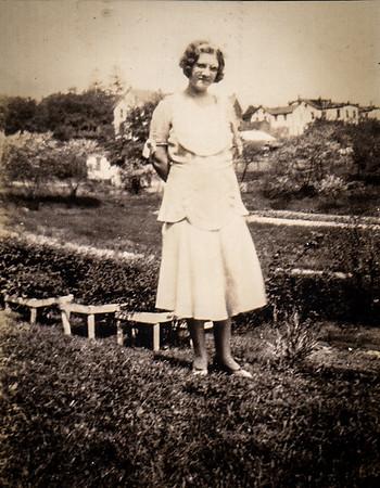 Virginia (Yeich) Werner (wedding dress light blue) back yard of 147 Walnut St., Mohnton, PA, 1932.