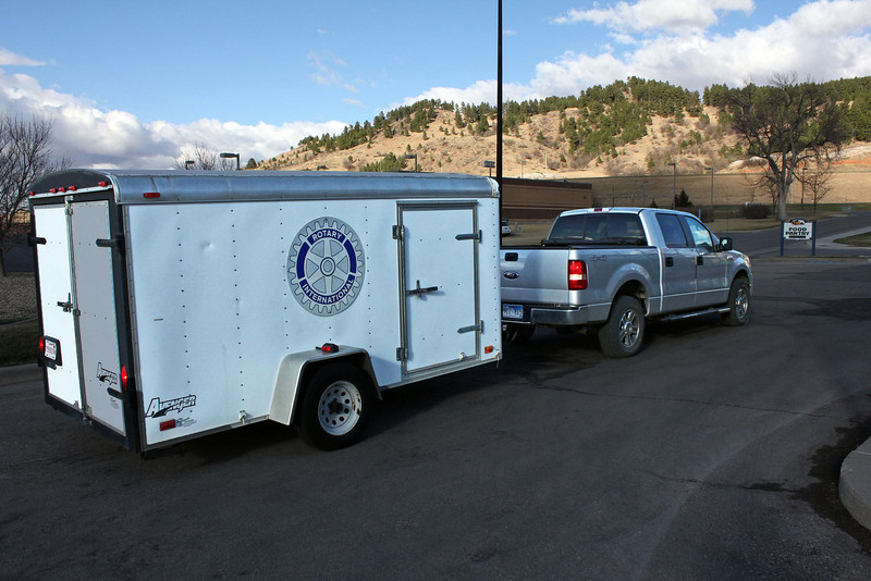 The food collected by the SIFE students arrives at the Spearfish Community Food Pantry in north Spearfish via a Rotary Club trailer pulled by Rotarian Perry Beguin.