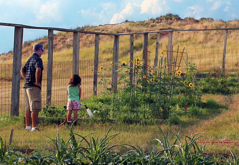 Josh Krueger (left) gets assistance from his daughter Ava at the Hills Horizon Community Garden in Spearfish.