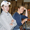 <b><i>BOY SCOUT FOOD DRIVE</i></b> - December 12, 2009  We couldn't have done it without the youngsters.  Two of our youthful hard workers -- Mike O'Connell and his sister Molly -- take a brief respite.  They were great workers!