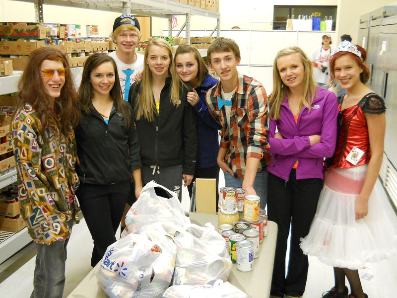 """Spearfish High School Key Club students who dubbed themselvers """"Teen Sleeps"""" donated 86 pounds of food to the Food Pantry in October.  Thanks!"""