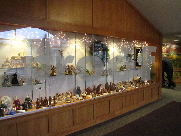 Beautiful nativity sets adorn the display cases outside the Celebration Center at Friendship Haven.