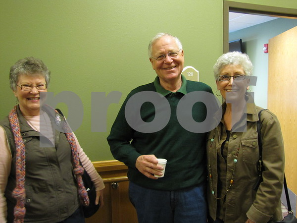 Joan Mickelson, Duane and Shirley Jordison before their tour of the Simpson Health Center.