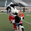 A girl hugs the Chick-Fil-A cow.