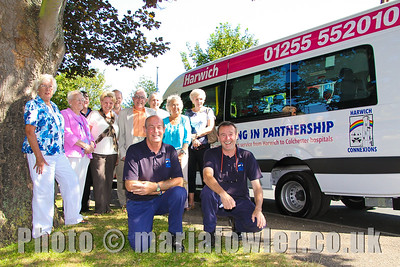 The new Mercedes-Benz Sprinter Hospital Hopper Bus Service HH1.  A direct bus service from Harwich to Colchester hospitals for patients and hospital visitors.  An initiative by Harwich & District Fellowship for the Sick in partnership with  Harwich Connexions Transport Co-operative Ltd.