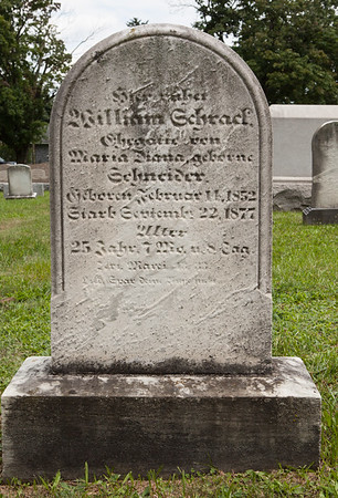 William Schrack, 14 Feb 1852 - 22 Sep 1877, son of David and Sarah (Schaeffer) Schrack. Husband of Maria (Mary) Diana Snyder (Schneider).