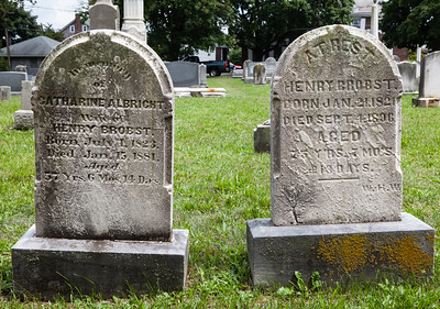 Left stone: Catharine Ann (Albright) Brobst, 1 Jul 1823 - 15 Jan 1881, daughter of Solomon Albrecht and Maria Miller. Wife of Henry Brobst.  Right stone: Henry Brobst, 25 Jan 1821 - 14 May 1821, son of Christian A. Brobst and Elisabeth Kreider.  Together they had 8 known children.
