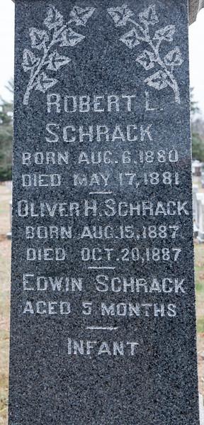 Robert L. Schrack, 1880 - 1881. Oliver H. Schrack 1887 - 1887, Edwin Schrack 5 months, infant