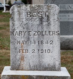 Mary E. Zollers, May 14, 1842 - Feb 2, 1910