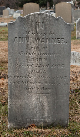 Anna Wanner, wife of Jacob Wanner, born Aug 22, 1805, died Sept 30, 1865...