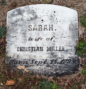 Sarah, wife of Christian Miller, born Sept 18, 1799 ... (?)