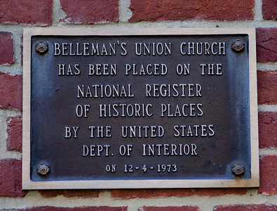 Belleman's Union Church has been placed on the National Register of Historic Places by the United States Dept. of Interior, on 12-4-1973.