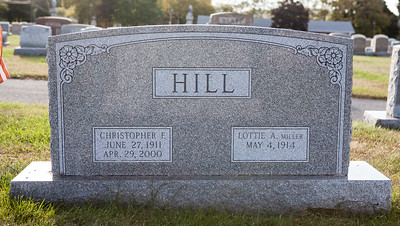 Christopher F. Hill, b. June 27, 1911, d. Apr 29, 2000. Lottie A. Miller, b. May 4, 1914.