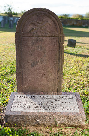 Valentine Mochel (Mogel), German emigrant from Rhine Valley (1802). Settled in Perry County 1750. Relocated 1 mile north of here 1752.