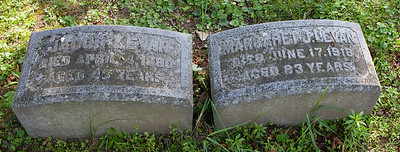 Left stone: Jacob Levan, died April 4, 1880, aged 48 years.  Right stone: Margaret J. Levan, died June 17, 1918, aged 83 years.