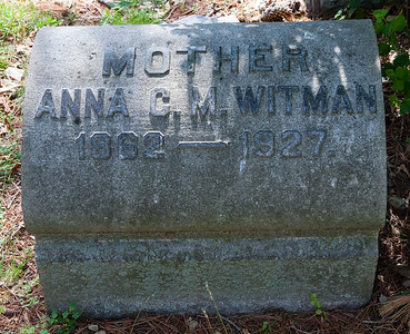 Mother: Anna C. M. Witman, 1862 - 1927.  With matching stone for:  Father: Harry K. Witman, 1860 - 1911.