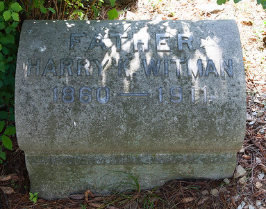 Father: Harry K. Witman, 1860 - 1911.  With matching stone for:  Mother: Anna C. M. Witman, 1862 - 1927.